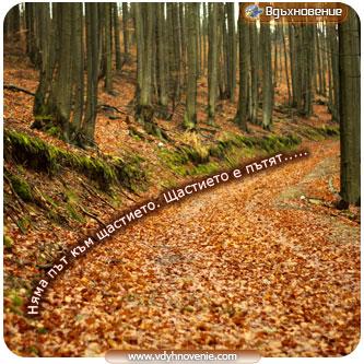Няма път към щастието. Щастието е пътят.....