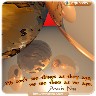 We don't see things as they are, we see them as we are - Anais Nin